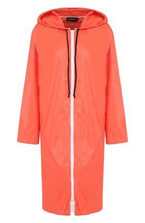 Пальто с капюшоном и полупрозрачной вставкой на спине Subterranei красного цвета | Фото №1