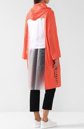 Пальто с капюшоном и полупрозрачной вставкой на спине Subterranei красного цвета | Фото №4