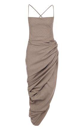 Шерстяное платье-миди асимметричного кроя Jacquemus бежевое   Фото №1