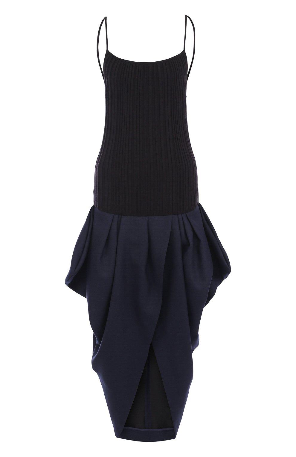 Однотонное хлопковое платье с открытой спиной   Фото №1