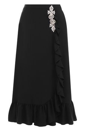 Однотонная юбка-миди с оборкой и декоративной отделкой | Фото №1