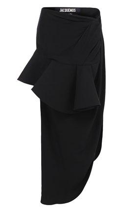 Юбка-миди с высоким разрезом и оборкой Jacquemus черная   Фото №1