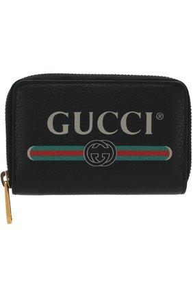 Мужской кожаный футляр для кредитных карт на молнии GUCCI черного цвета, арт. 496319/0GCAT | Фото 1