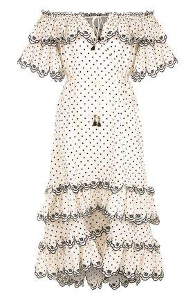 Льняное платье-макси с открытыми плечами и оборками Zimmermann черно-белое | Фото №1