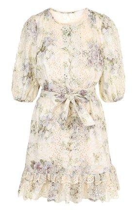 Льняное мини-платье с поясом и оборками Zimmermann разноцветное | Фото №1