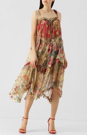 Шелковое платье-миди с оборками и принтом Zimmermann разноцветное   Фото №1