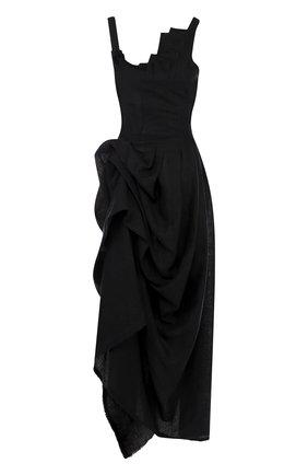 Льняное платье-макси асимметричного кроя | Фото №1