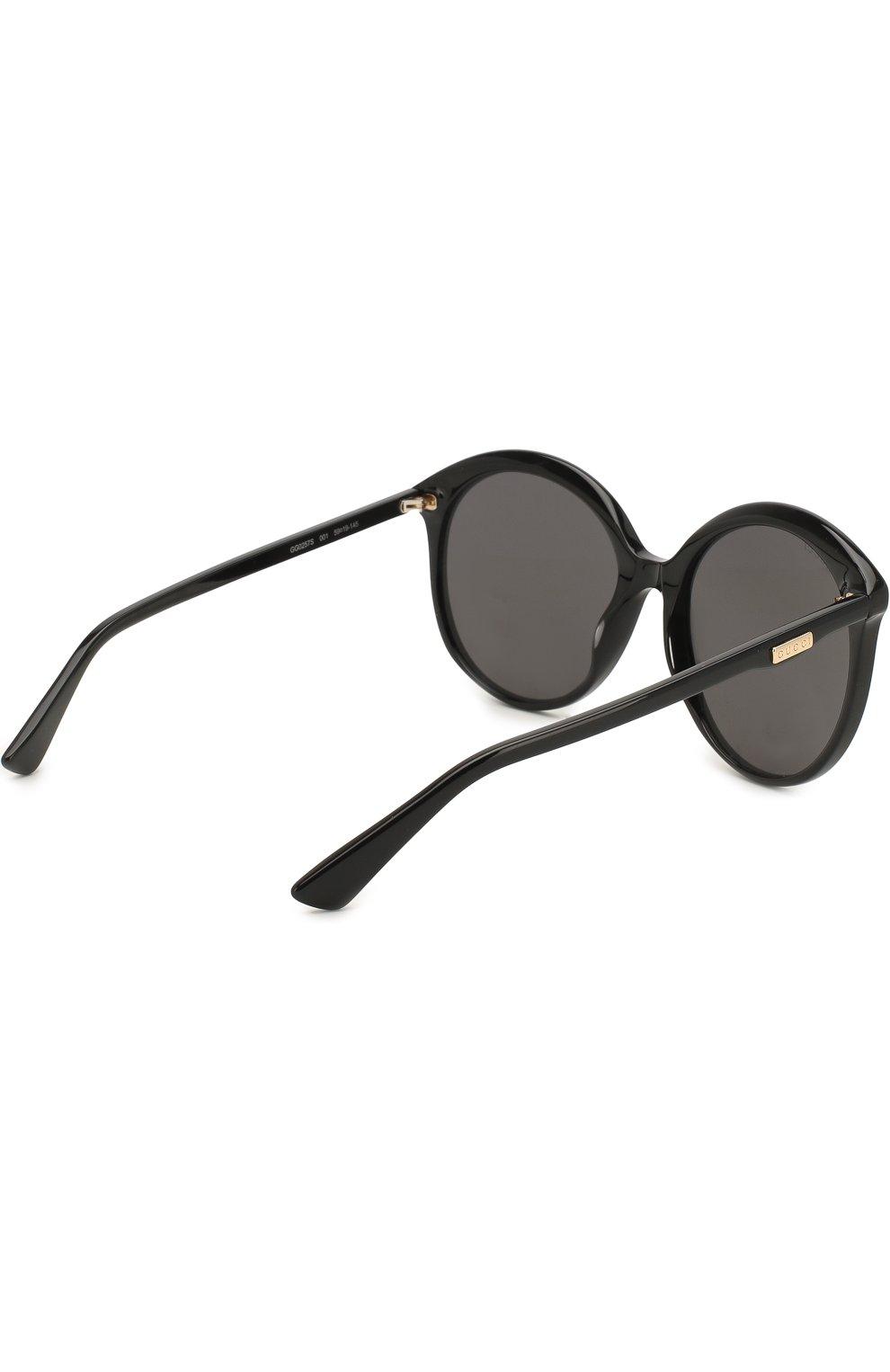Женские солнцезащитные очки GUCCI черного цвета, арт. GG0257 001 | Фото 4
