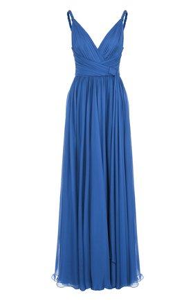 Шелковое платье-макси с V-образным вырезом | Фото №1