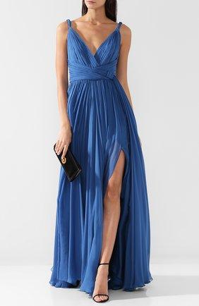 Шелковое платье-макси с V-образным вырезом Zuhair Murad синее | Фото №1