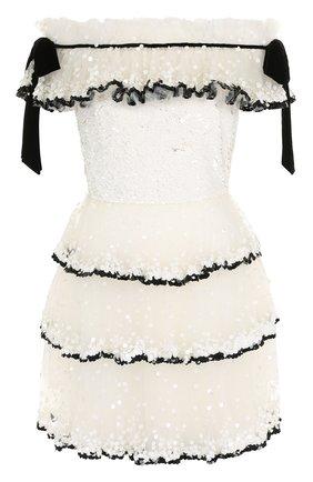 Приталенное мини-платье с открытыми плечами и пайетками | Фото №1