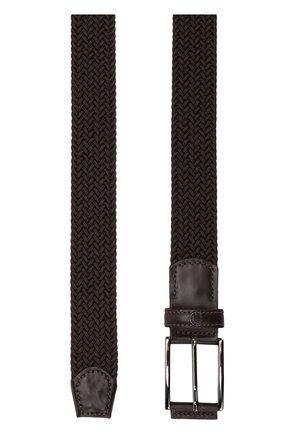 Плетеный ремень с кожаной отделкой и металлической пряжкой Paul&Shark коричневый | Фото №1