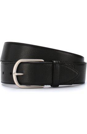 Мужской кожаный ремень с металлической пряжкой BRIONI черного цвета, арт. 0BZA0L/07733 | Фото 1