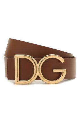 Мужской кожаный ремень DOLCE & GABBANA коричневого цвета, арт. BC4246/AC493 | Фото 1