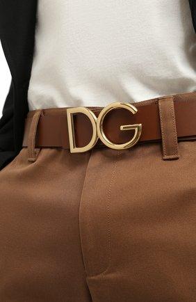 Мужской кожаный ремень DOLCE & GABBANA коричневого цвета, арт. BC4246/AC493 | Фото 2