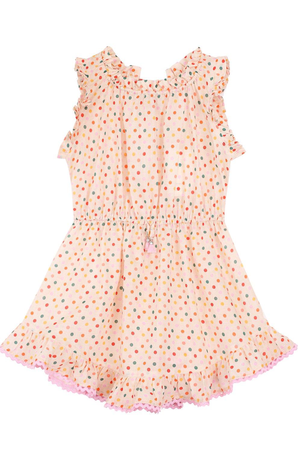 53dcb1b21b8 Детское хлопковое платье с поясом на кулиске Zimmermann разноцветного цвета