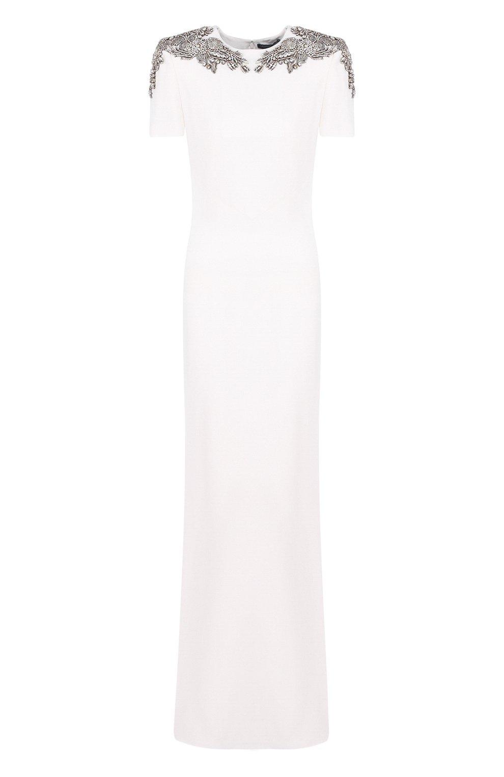 Однотонное платье-макси с декоративной отделкой   Фото №1