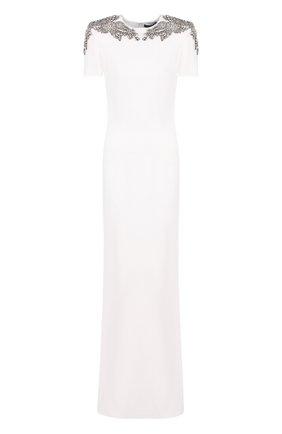 Однотонное платье-макси с декоративной отделкой | Фото №1