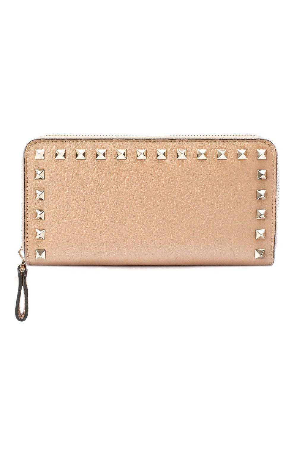 Кожаный кошелек на молнии Valentino Garavani Rockstud | Фото №1