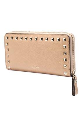 Кожаный кошелек на молнии Valentino Garavani Rockstud Valentino бежевого цвета | Фото №2