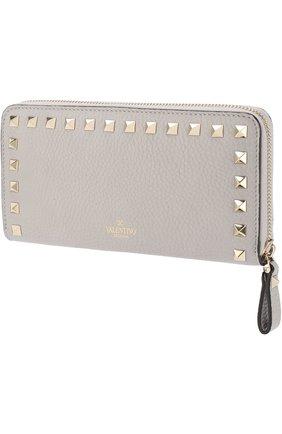 Кожаный кошелек на молнии Valentino Garavani Rockstud Valentino светло-серого цвета | Фото №2