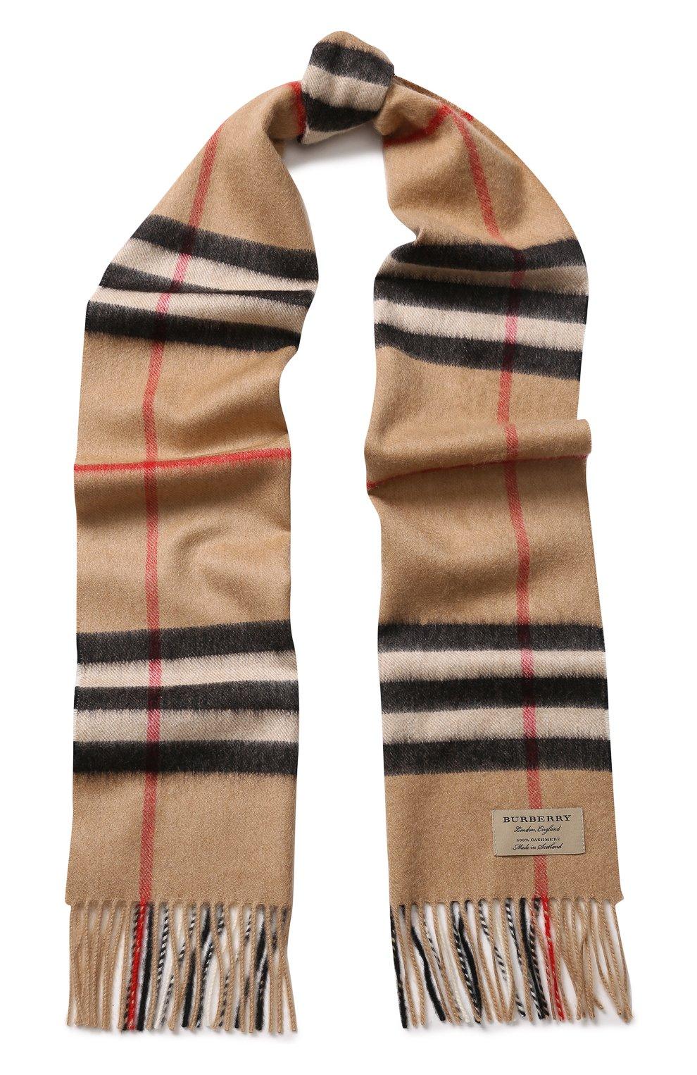 Мужской бежевый кашемировый шарф в клетку с бахромой BURBERRY ... 0e5179fb87c