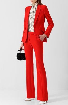 Женские однотонные расклешенные брюки со стрелками ALEXANDER MCQUEEN красного цвета, арт. 308721/QLE40 | Фото 2