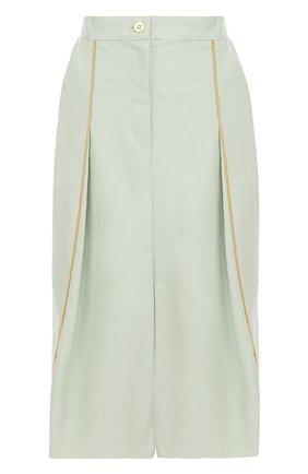 Хлопковая юбка-миди с разрезом   Фото №1