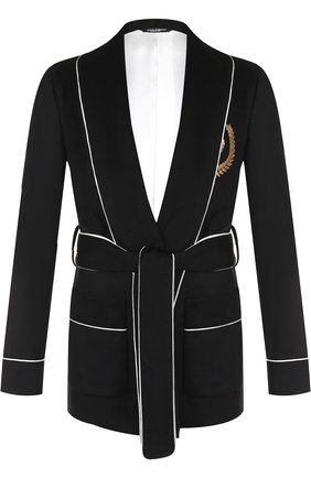 Кашемировый пиджак с поясом и шалевыми лацканами   Фото №1