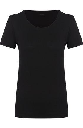 Хлопковая футболка с круглым вырезом Mey черная | Фото №1