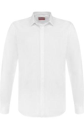 Хлопковая сорочка с воротником кент HUGO белая   Фото №1