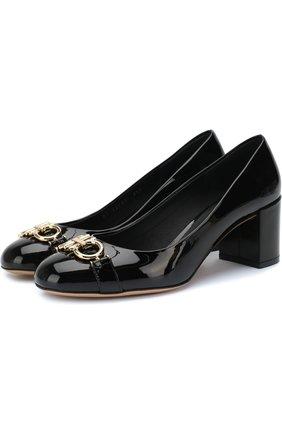 Туфли Gancini на устойчивом каблуке Salvatore Ferragamo черные | Фото №1