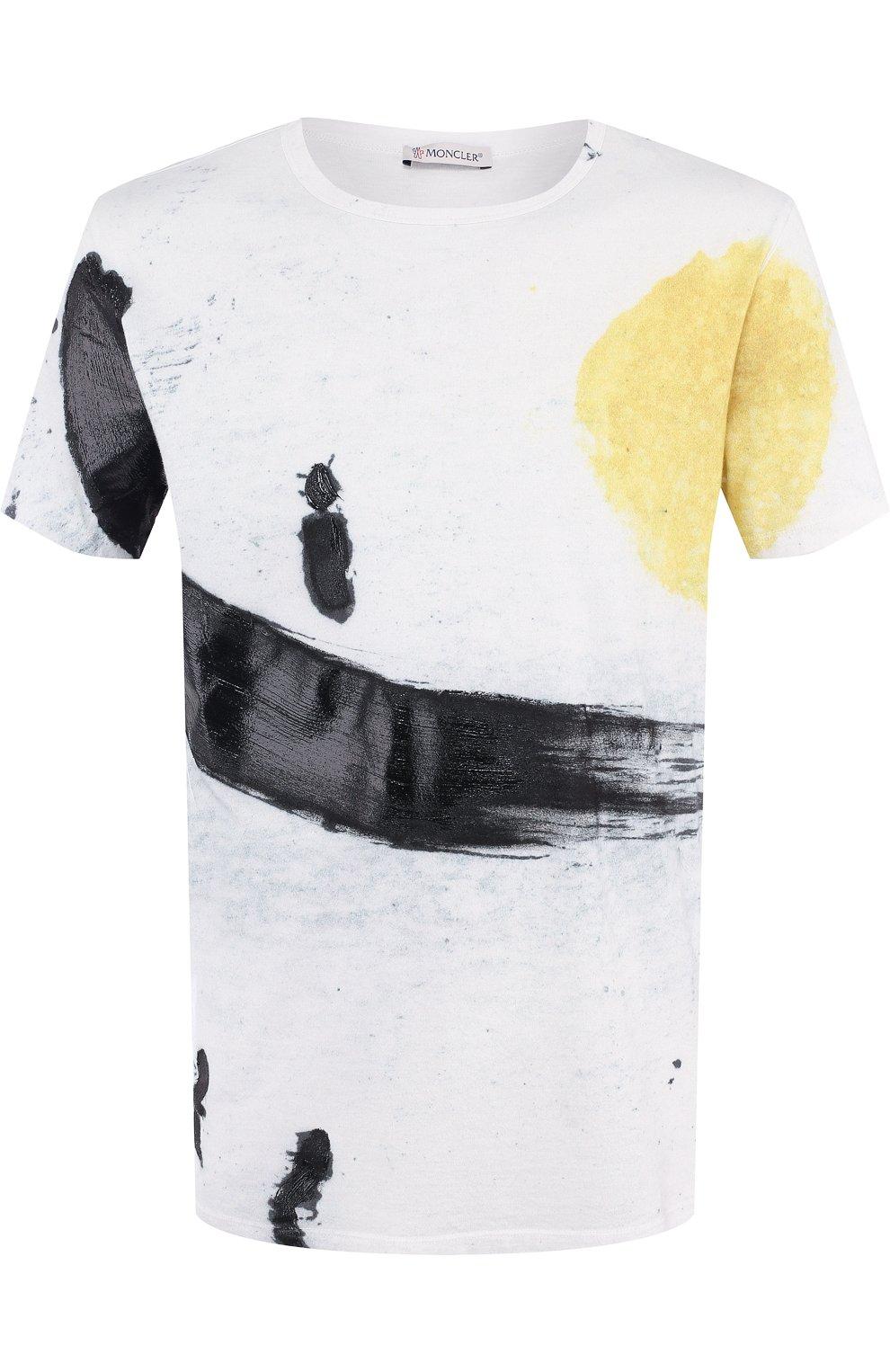 Мужская хлопковая футболка с принтом MONCLER белого цвета, арт. D1-091-80351-50-809AR   Фото 1