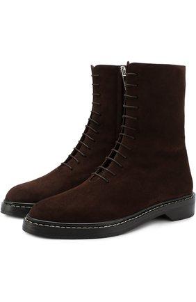 Замшевые ботинки на шнуровке | Фото №1