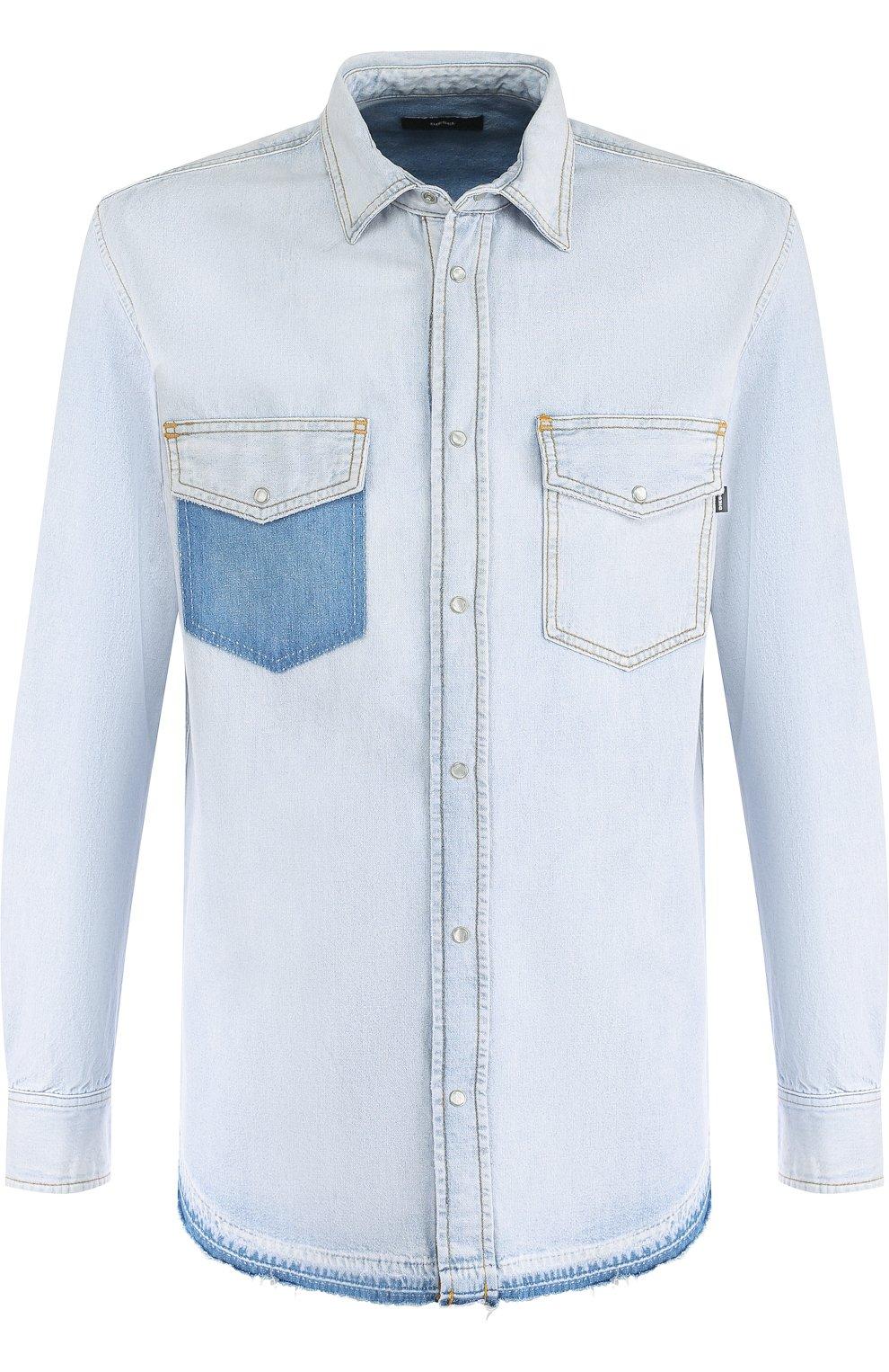 Джинсовая рубашка на кнопках   Фото №1