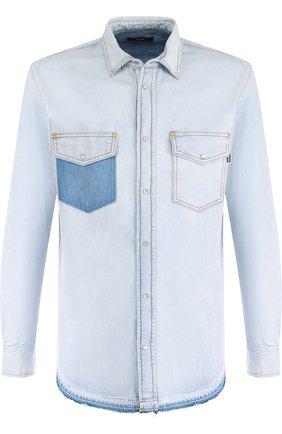 Джинсовая рубашка на кнопках Diesel синяя   Фото №1