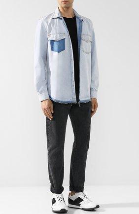Джинсовая рубашка на кнопках Diesel синяя   Фото №2