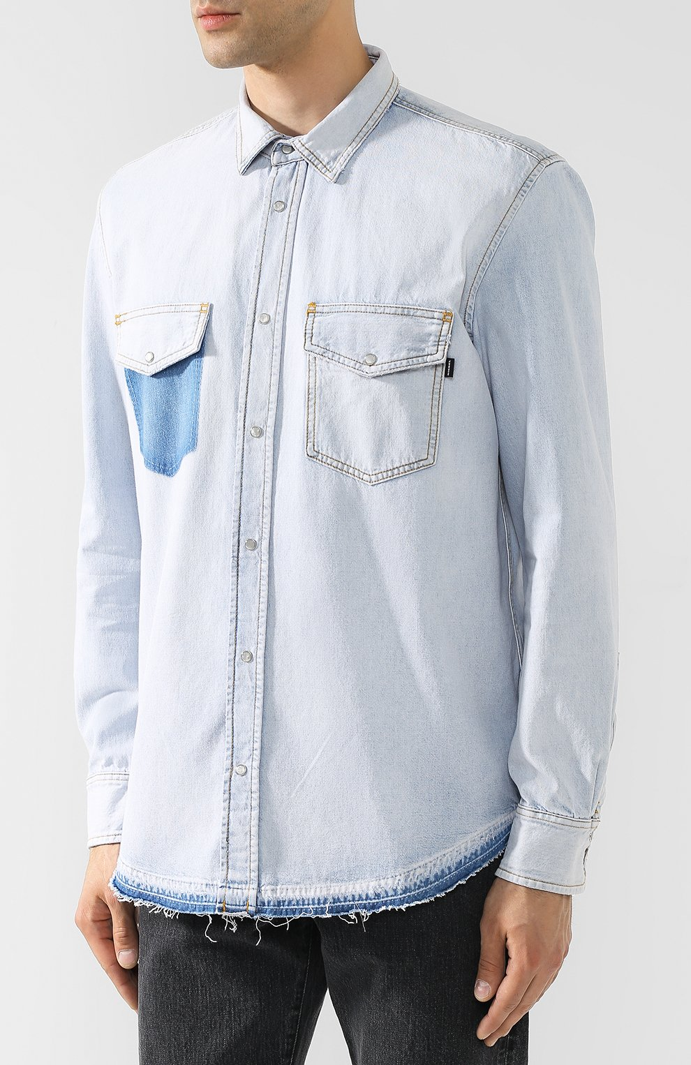 Джинсовая рубашка на кнопках Diesel синяя   Фото №3