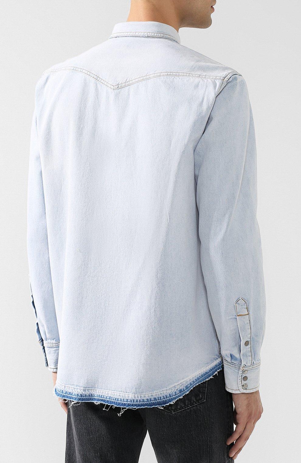 Джинсовая рубашка на кнопках Diesel синяя   Фото №4