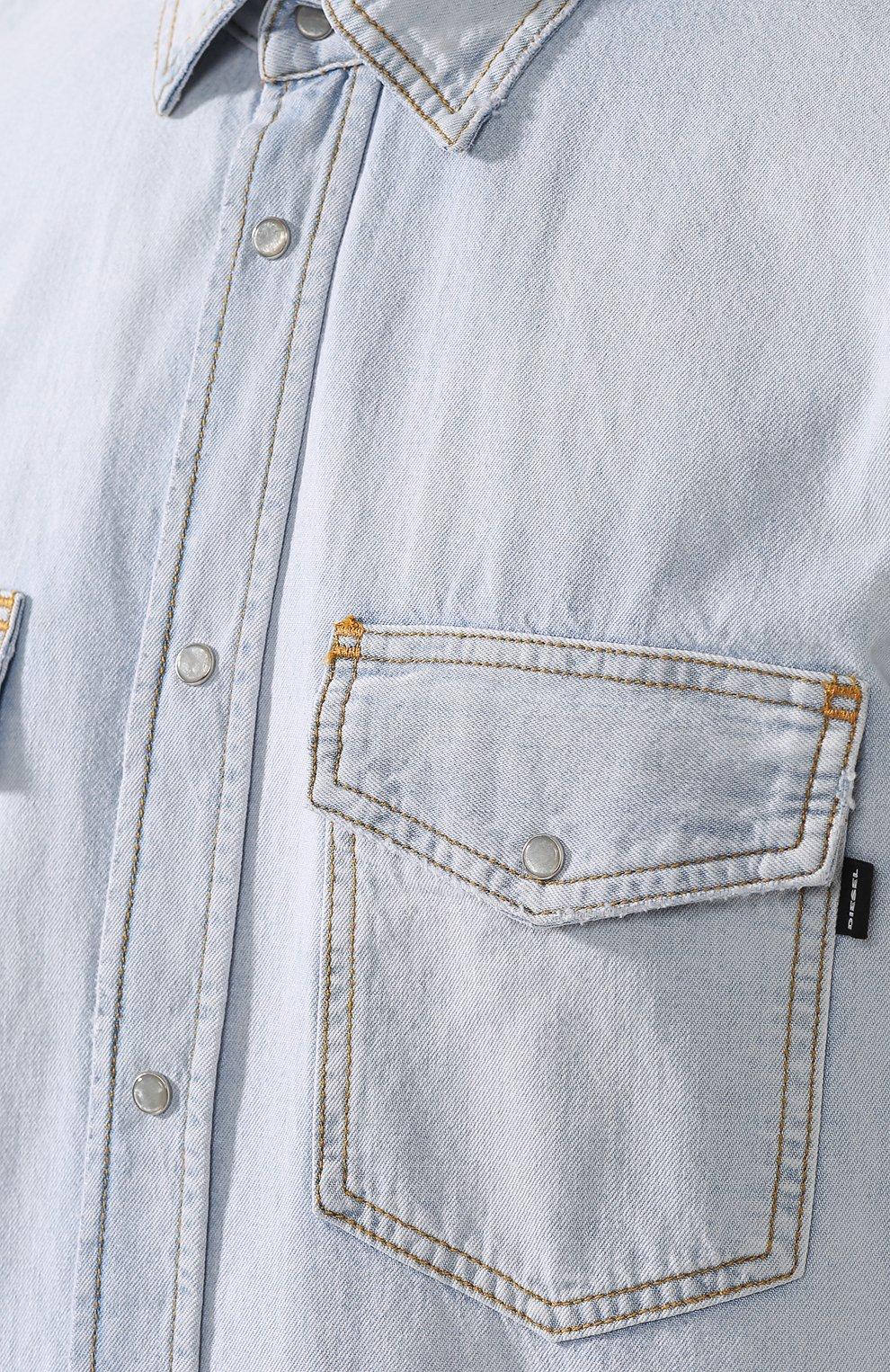 Джинсовая рубашка на кнопках Diesel синяя   Фото №5