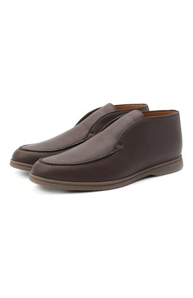 Мужские кожаные ботинки open walk LORO PIANA темно-коричневого цвета, арт. FAI3349 | Фото 1