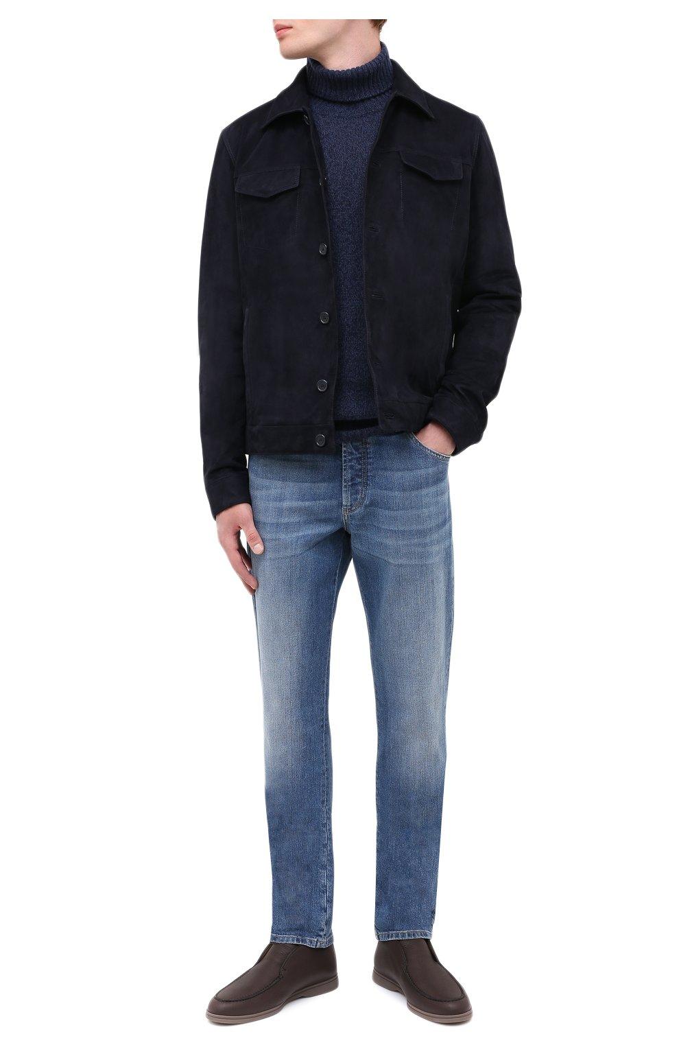 Мужские кожаные ботинки open walk LORO PIANA темно-коричневого цвета, арт. FAI3349 | Фото 2