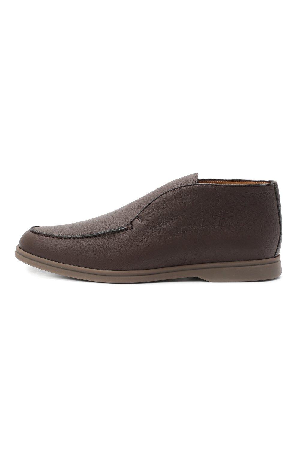 Мужские кожаные ботинки open walk LORO PIANA темно-коричневого цвета, арт. FAI3349 | Фото 3