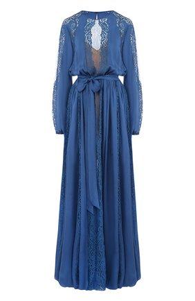 Шелковое платье-макси с кружевной отделкой Zuhair Murad синее | Фото №1
