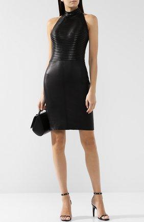 Женское кожаное мини-платье с воротником-стойкой JITROIS черного цвета, арт. DRESS HKL APS MIN0RAY | Фото 2
