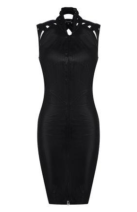 Женское кожаное мини-платье на молнии JITROIS черного цвета, арт. DRESS INTRIGUE EMBR0IDED | Фото 1
