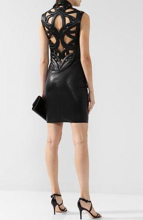 Женское кожаное мини-платье на молнии JITROIS черного цвета, арт. DRESS INTRIGUE EMBR0IDED | Фото 2
