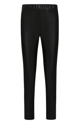 Женские укороченные кожаные брюки BOTTEGA VENETA черного цвета, арт. 429686/VENV0   Фото 1 (Статус проверки: Проверено, Проверена категория; Женское Кросс-КТ: Кожаные брюки, Брюки-одежда; Длина (брюки, джинсы): Стандартные, Укороченные; Силуэт Ж (брюки и джинсы): Узкие)