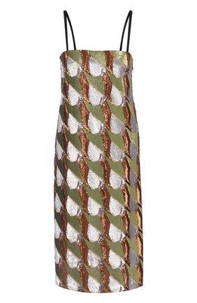 Шелковое платье на тонких бретельках с пайетками | Фото №1