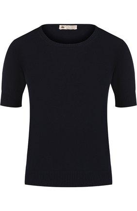 Однотонная кашемировая футболка с круглым вырезом Colombo темно-синяя | Фото №1